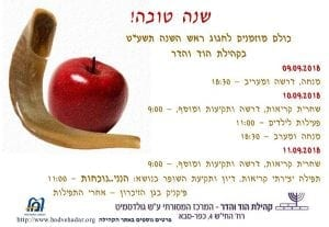 """Rosh Hashanah 5779 09.9.2018 Afternoon & Evening Services with a sermon – 18:30  10.9.2018 Services with sermon, Torah reading & Shofar – 9:00  Children's activities – 11:00 Afternoon & Evening Services – 18:30  11.9.2018 Services with sermon, Torah reading & Shofar – 9:00  Creative service: readings & discussion """"Here I am: Being Present"""" & Shofar blowing – 11:00  Picnic in the Gan Hazicharon after services"""